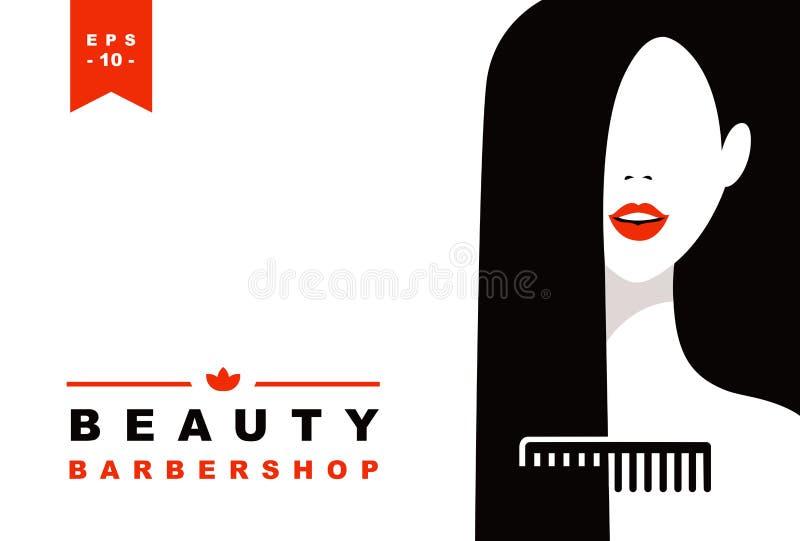 Les femmes font face et peignent à la silhouette illustration stock