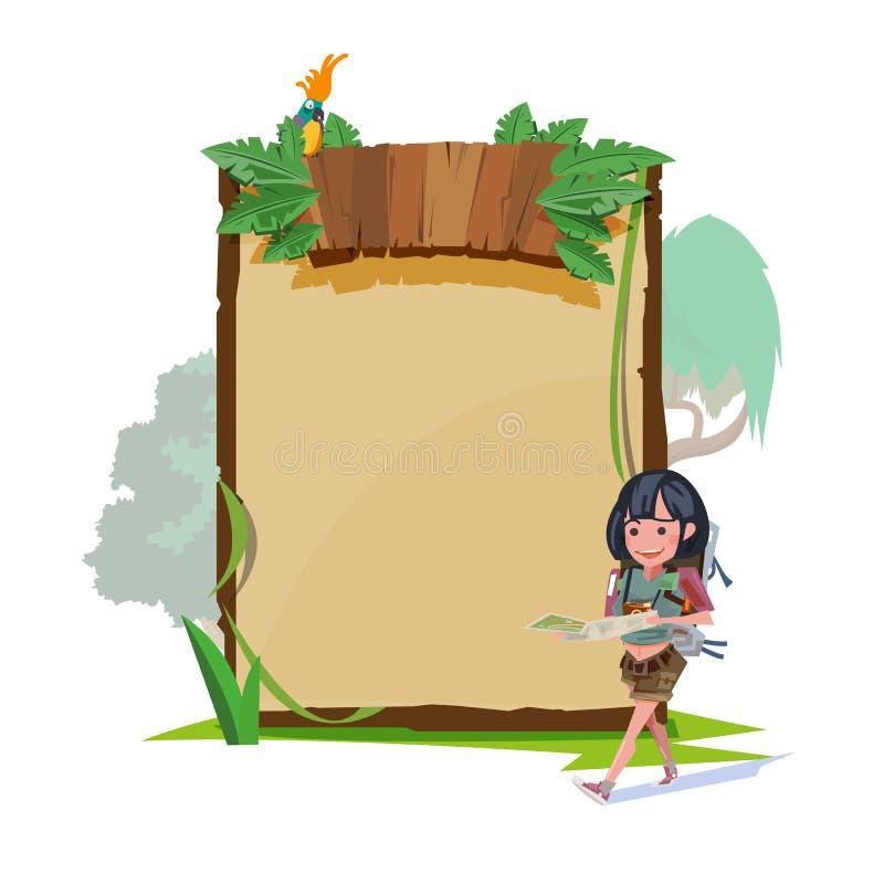 Les femmes marchant et voient sa carte avec la jungle embarquer le style dans le backgro illustration de vecteur