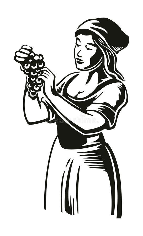 Les femmes moissonnent les raisins dans le vignoble Vecteur noir de cru gravant l'illustration pour le label, affiche, ic?ne, con illustration de vecteur