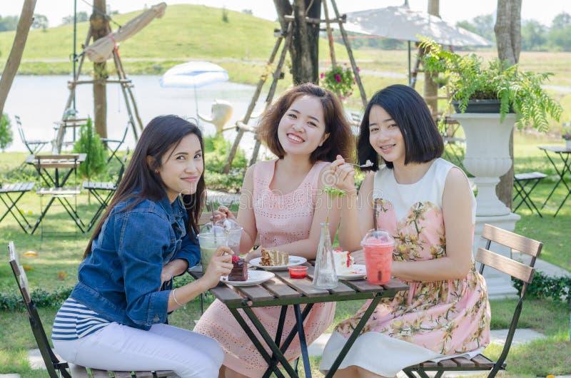 Les femmes ont plaisir à manger et parler ensemble images stock