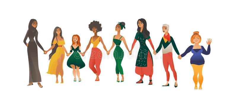 Les femmes ou les filles de différentes courses et d'illustration plate de vecteur de formes de corps ont isolé illustration libre de droits
