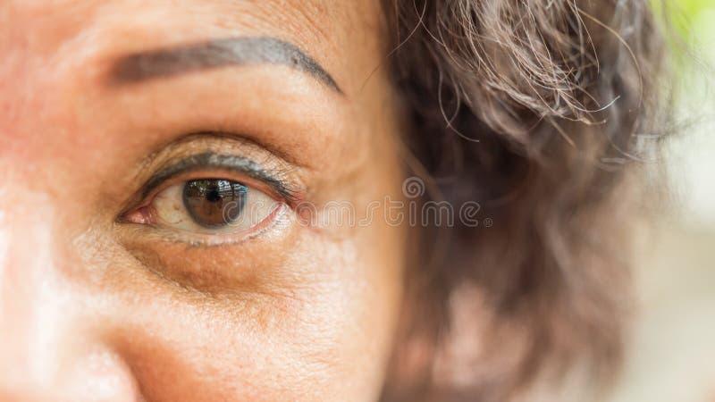 Les femmes plus âgées asiatiques lui montrent les yeux et le tatouage de sourcil image libre de droits