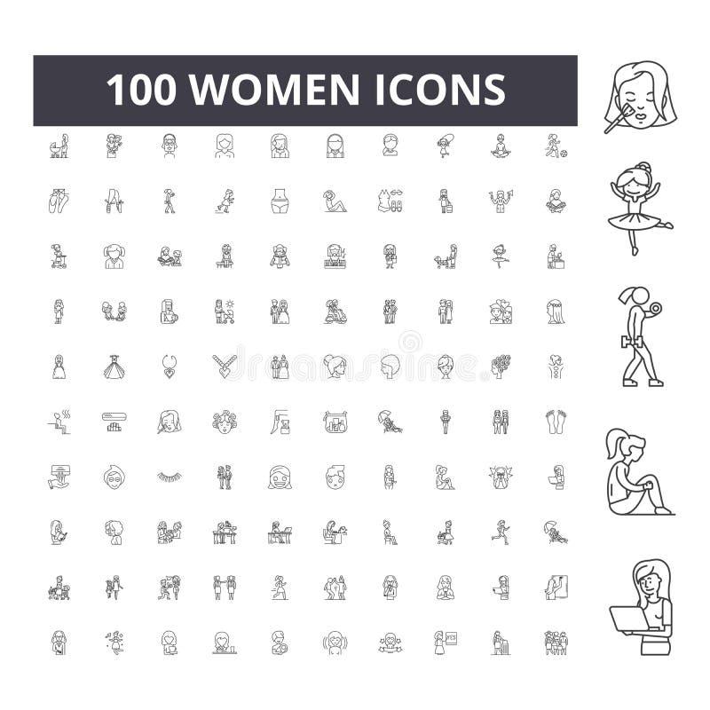 Les femmes rayent des ic?nes, signes, ensemble de vecteur, concept d'illustration d'ensemble image stock