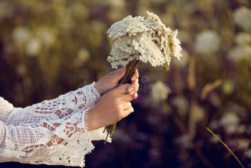 Les femmes remet tenir des fleurs dans un domaine rural dehors, convoitise pendant la vie images libres de droits