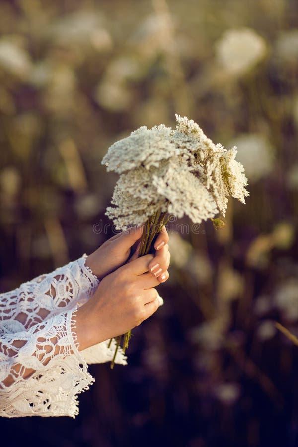 Les femmes remet tenir des fleurs dans un domaine rural dehors, convoitise pendant la vie photo stock