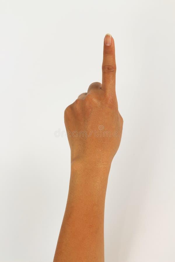 Les femmes remettent d'isolement sur le fond blanc montrant un doigt photos stock