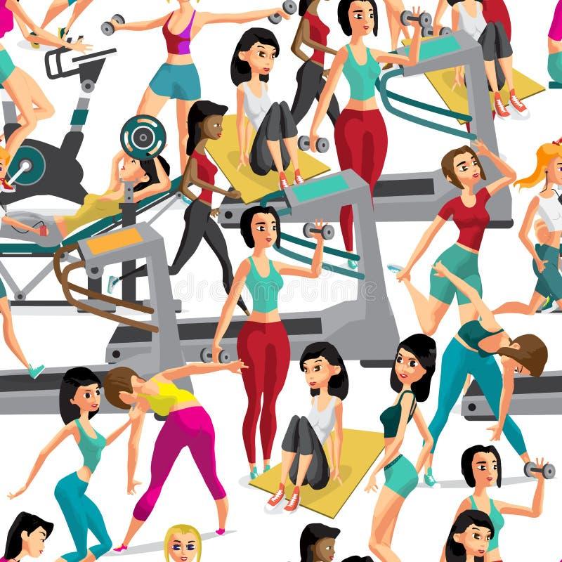Les femmes sans couture de modèle faisant la forme physique s'exerce dans le gymnase Carto illustration stock