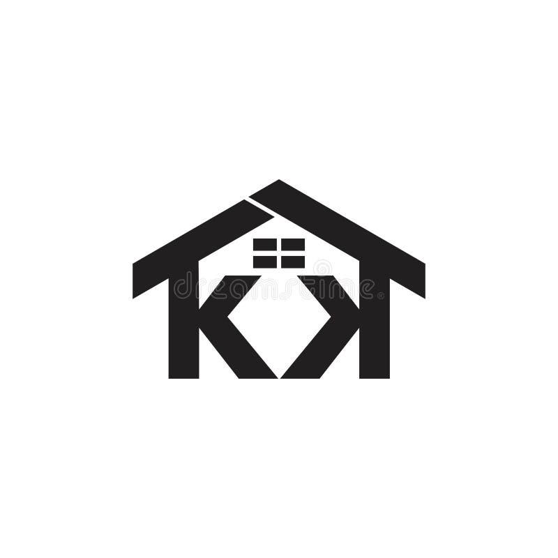 Les fenêtres de maison de kk de lettres conçoivent le vecteur de logo illustration libre de droits