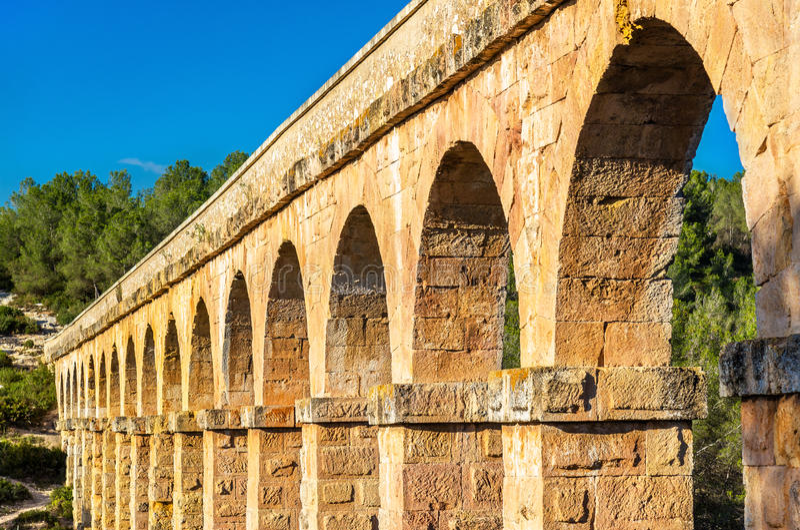 Les Ferreres akwedukt, także znać jako Pont Del Diable, Tarragona -, Hiszpania fotografia royalty free