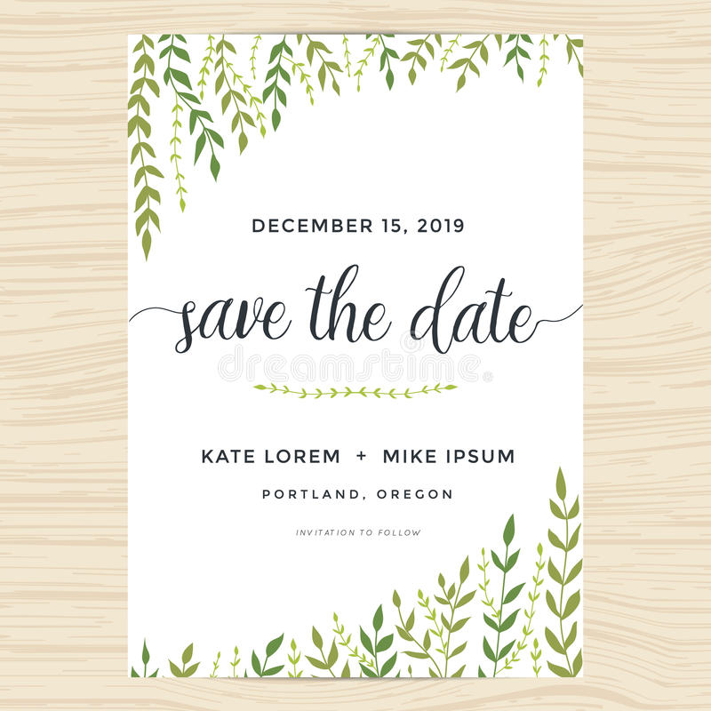 Les feuilles élégantes de jardin conçoivent pour des économies la carte de date, épousant le calibre d'invitation illustration stock