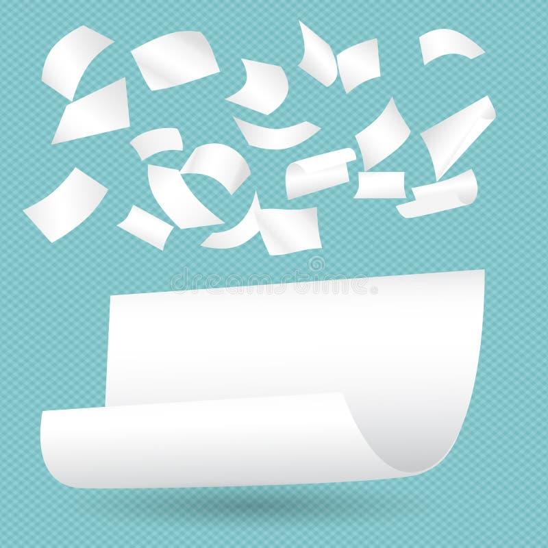 Les feuilles blanches de carnet de papier de boucle avec l'ombre pour la note ou le message tombant sur la turquoise ont ajusté l illustration stock