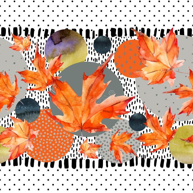 Les feuilles d'automne d'aquarelle, cercle forme sur le fond minimal de textures de griffonnage illustration de vecteur