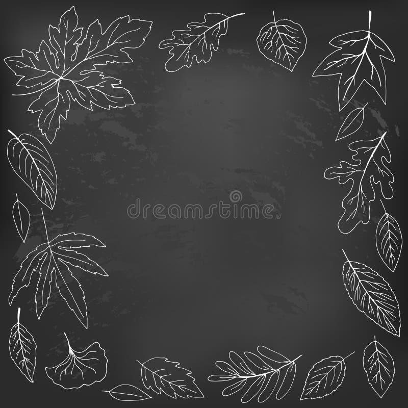 Les feuilles d'automne ont marqué à la craie sur un tableau noir, vecteur illustration libre de droits