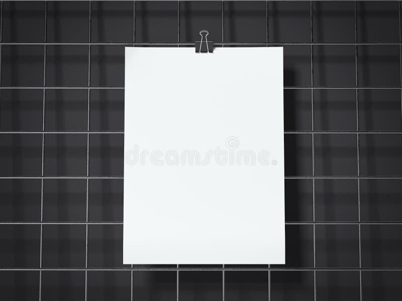 Les feuilles de papier accrochant sur le fil noir embarquent rendu 3d illustration de vecteur