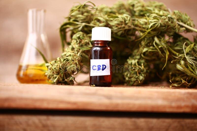 Les feuilles de vert de médecine des cannabis médicinaux avec l'extrait huilent sur une table en bois photos stock