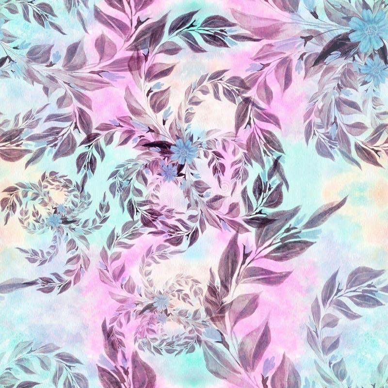 Les feuilles et les branches sont des usines d'une composition décorative, de parfumerie et de cosmétique Configuration sans join illustration stock
