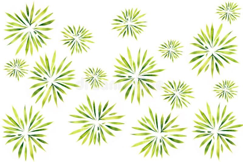Les feuilles et les usines d'aquarelle entourent l'art de modèle de texture peint à la main sur le fond blanc illustration libre de droits