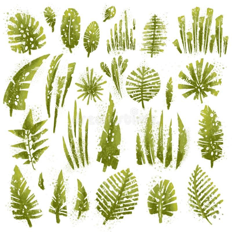 Les feuilles texturisées tropicales réglées avec l'aquarelle expressive éclabousse et texture grunge Collection d'isolement d'élé illustration libre de droits