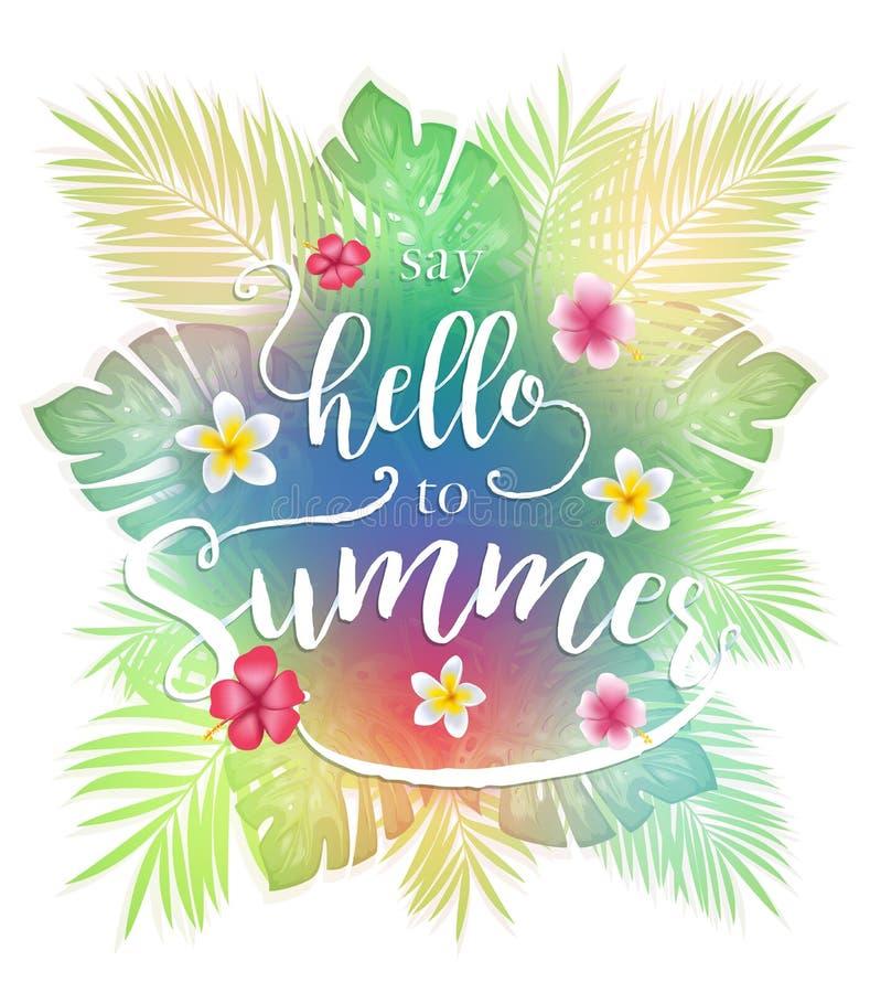 Les feuilles tropicales colorées indiquent bonjour au lettrage d'été illustration libre de droits