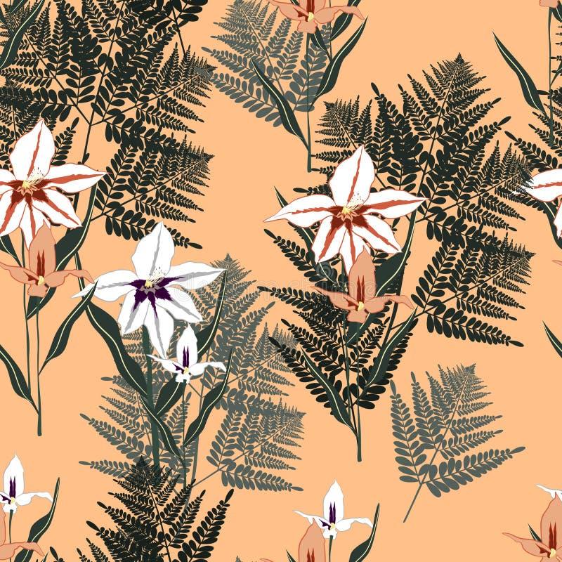 Les feuilles tropicales de fougère et l'orchidée exotique fleurissent le modèle sans couture L'usine de Bush laisse la décoration illustration de vecteur