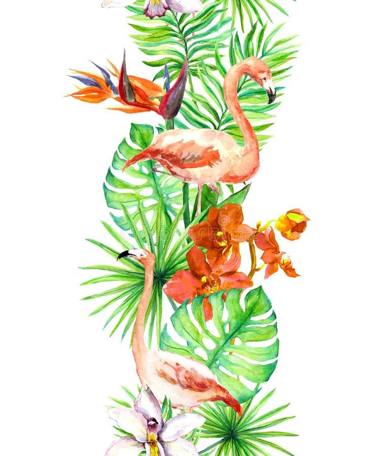 Les feuilles tropicales, oiseau de flamant, orchidée fleurit Cadre sans joint Cadre d'aquarelle illustration libre de droits
