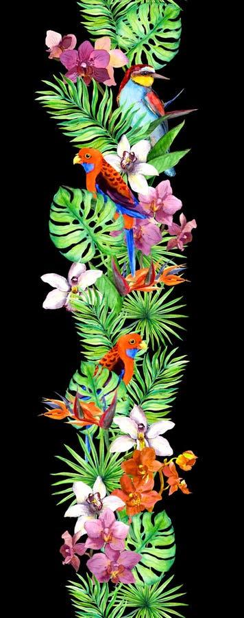Les feuilles tropicales, orchidée fleurit, les oiseaux exotiques Répétition du cadre exotique de frontière photo libre de droits