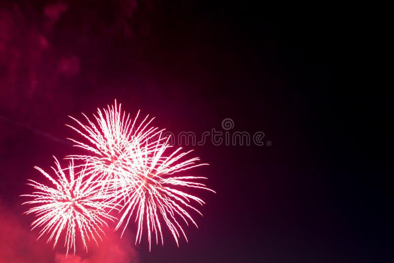 Les feux d'artifice allument le ciel avec l'affichage d'éblouissement photographie stock libre de droits