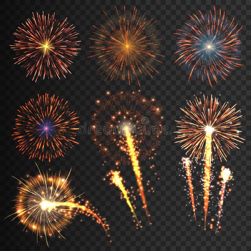 Les feux d'artifice de fête de collection de diverses couleurs ont arrangé sur un fond noir manifestations transparentes à la pât illustration de vecteur