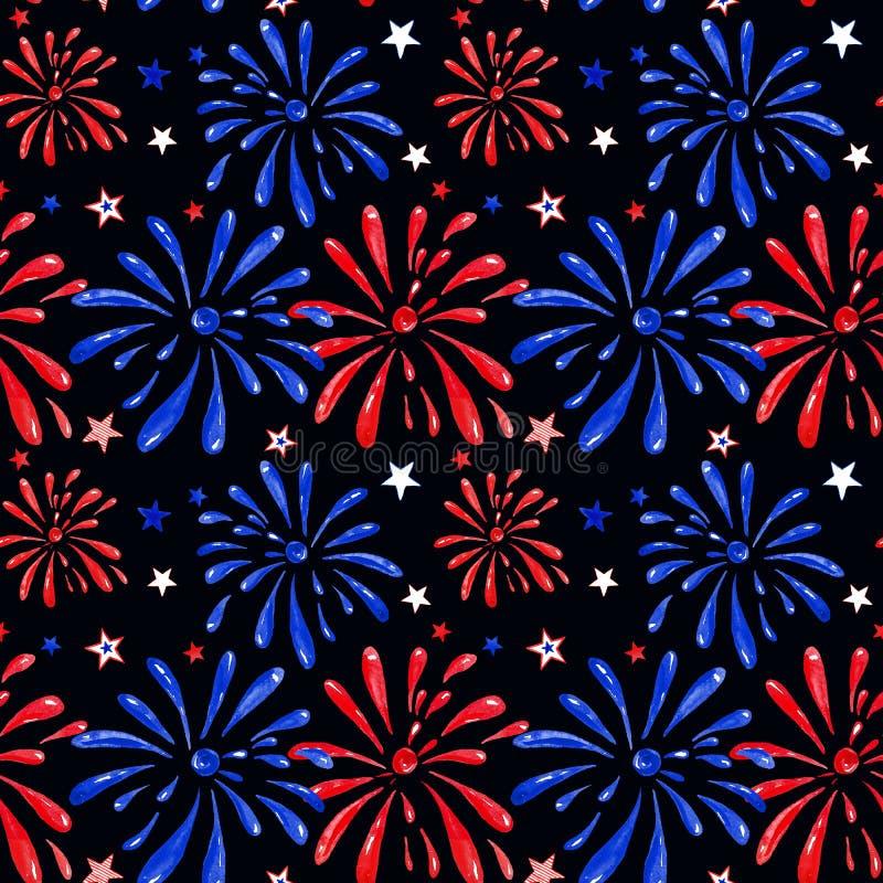 Les feux d'artifice de fête montrent le modèle sans couture Étincelles rouges et bleues de saluts dans le ciel nocturne Célébrati illustration libre de droits