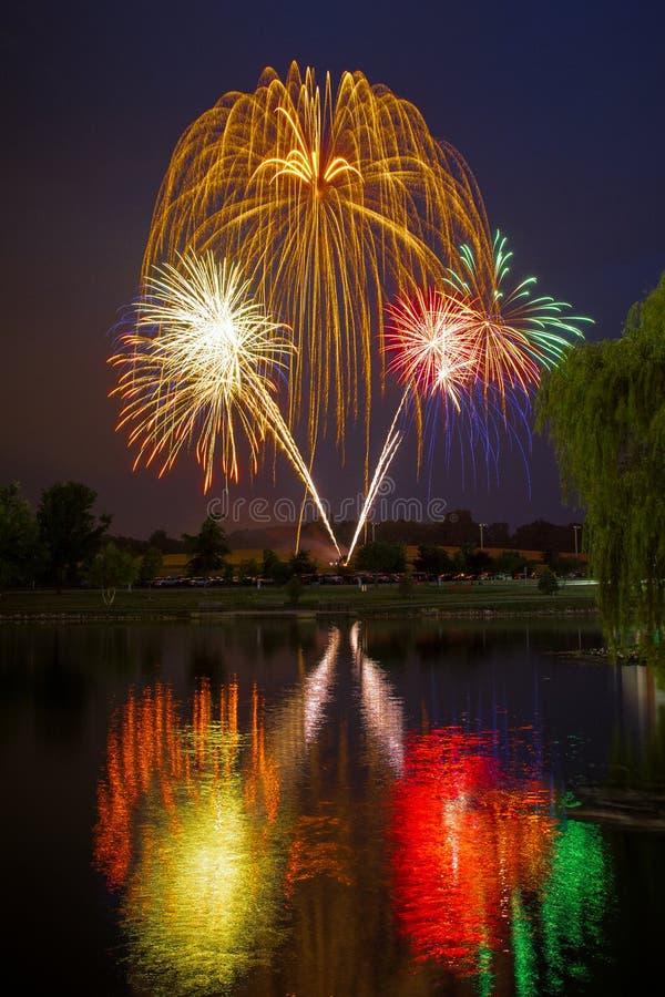Les feux d'artifice de Jour de la Déclaration d'Indépendance se sont reflétés dans l'eau avec un saule photo stock