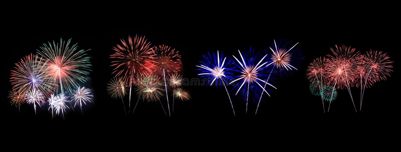 Les feux d'artifice montrent dans la célébration photographie stock libre de droits