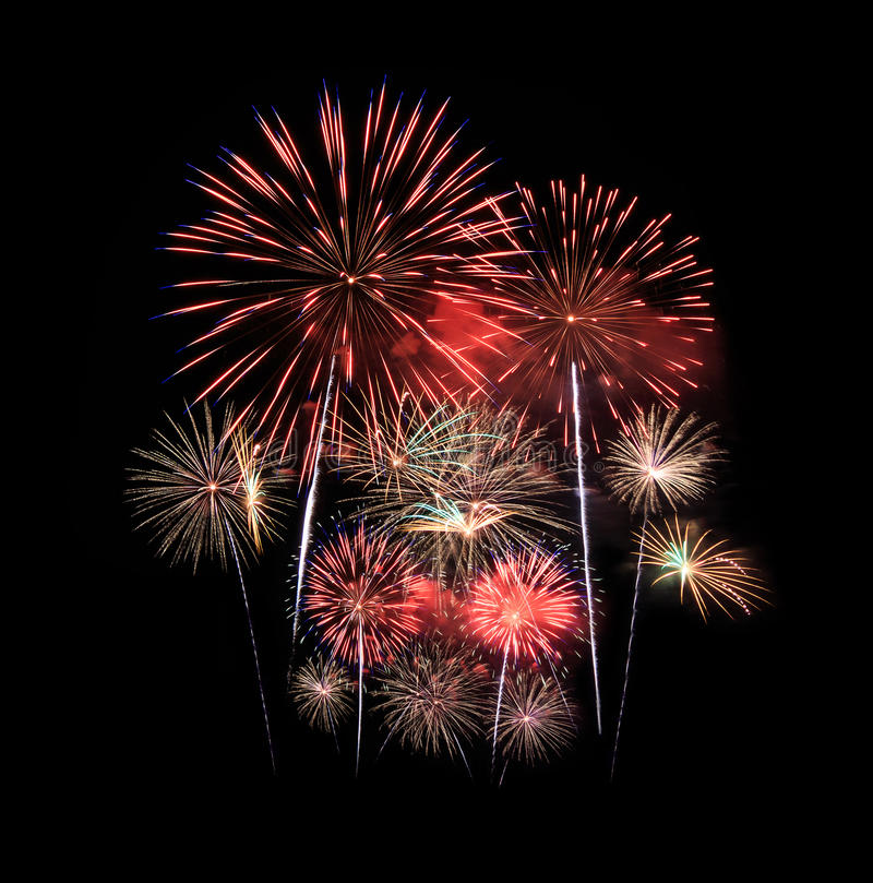 Les feux d'artifice montrent dans la célébration image stock