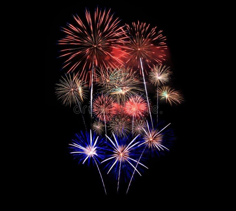 Les feux d'artifice montrent dans la célébration photos stock