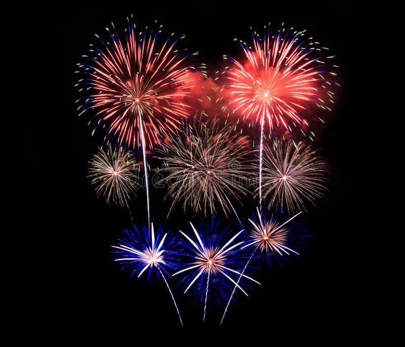 Les feux d'artifice montrent dans la célébration photographie stock