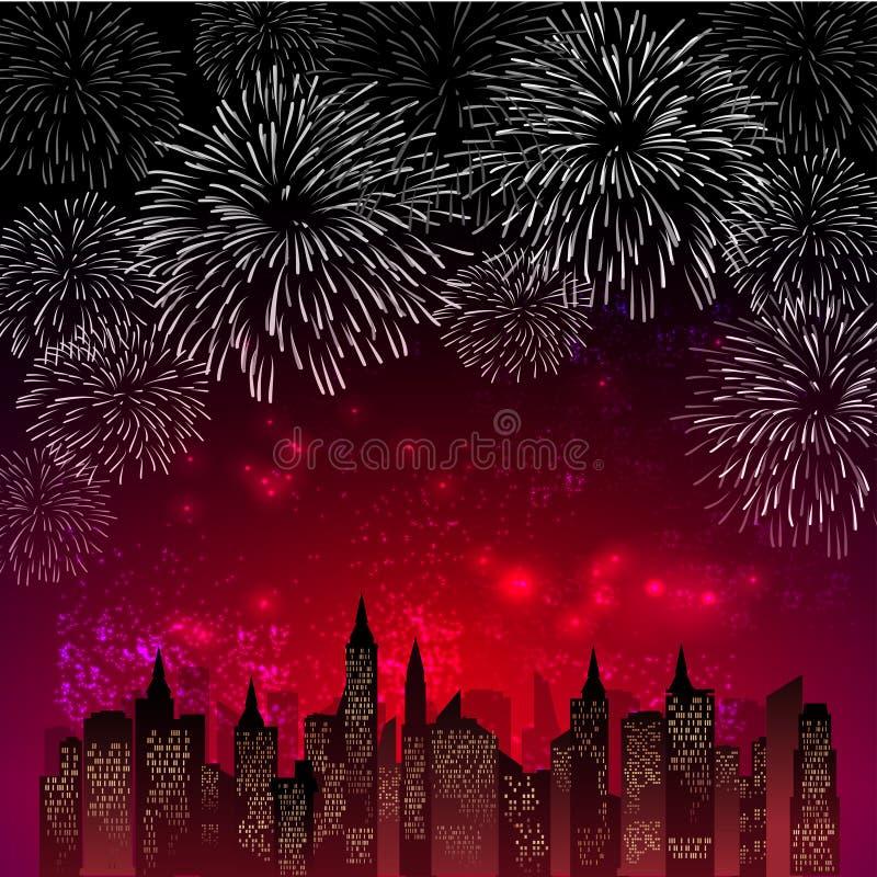 Les feux d'artifice montrent pour la nouvelle année et toute l'illustration de vecteur de célébration illustration stock