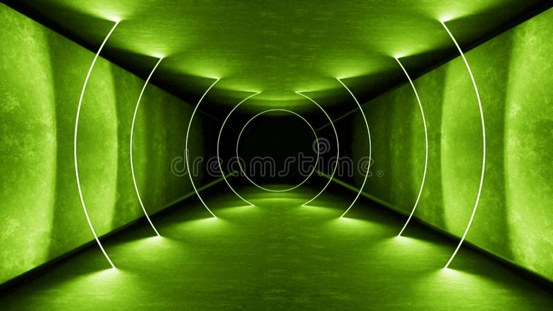 Les feux verts intérieurs 3d de boîte de nuit rendent pour l'exposition de laser Lignes Vertes rougeoyantes Fond vert fluorescent images libres de droits