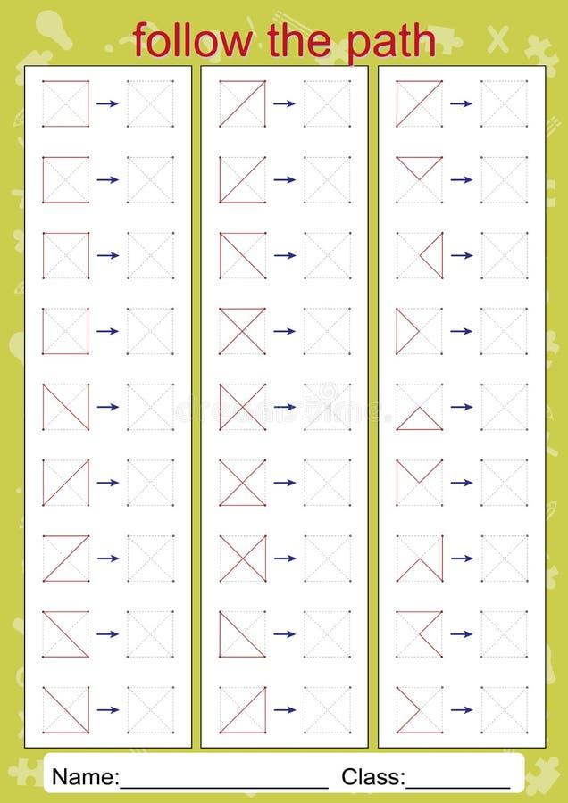 Les fiches de travail perceptuelles visuelles, suivent le chemin, copient le modèle illustration de vecteur