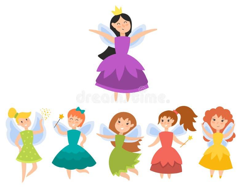 Les filles adorables d'ange de beauté d'imagination de caractères de princesse féerique avec des ailes dirigent l'illustration illustration libre de droits