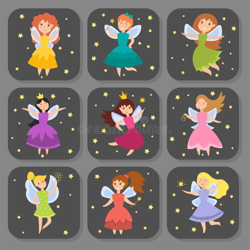 Les filles adorables d'ange de beauté d'imagination de cartes de caractères de princesse féerique avec des ailes dirigent l'illus illustration stock