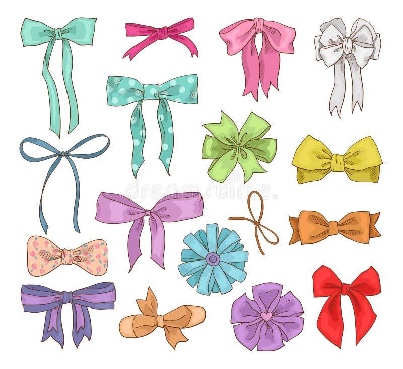Les filles cintrent le bowknot de vecteur ou le ruban de fille de girlie sur des cheveux ou pour décorer des cadeaux sur l'ensemb illustration libre de droits