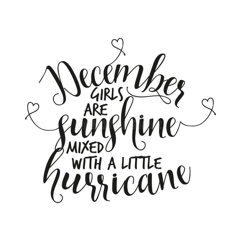 Les filles de décembre sont soleil mélangé à un petit ouragan illustration de vecteur