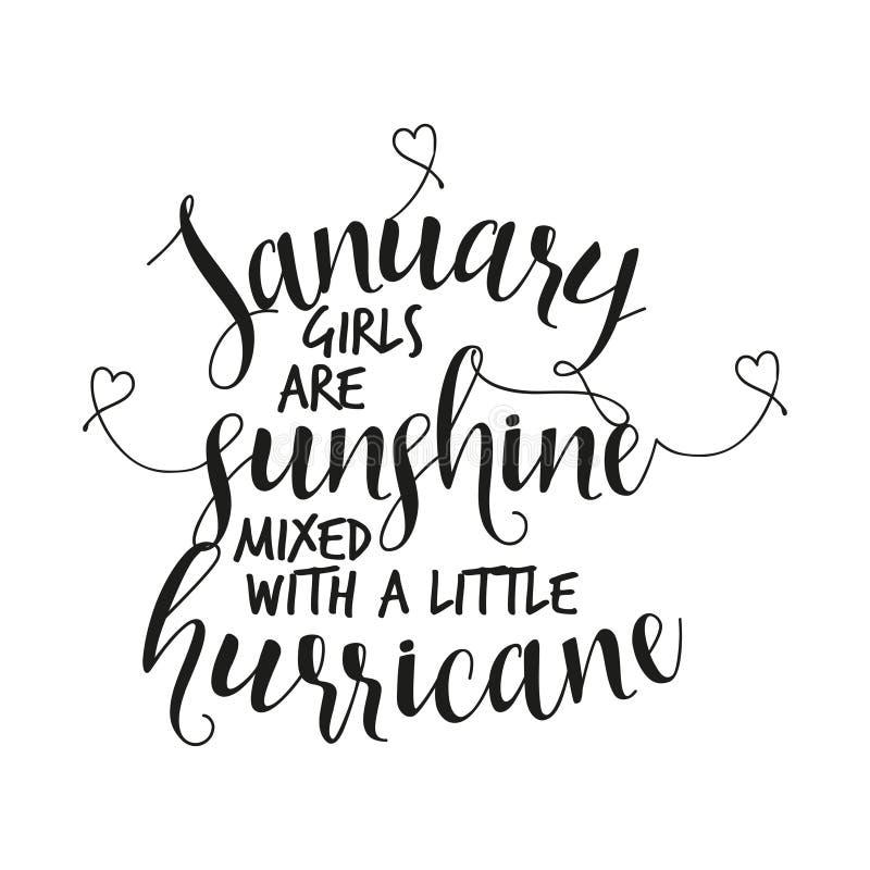 Les filles de janvier sont soleil mélangé à un petit ouragan illustration de vecteur