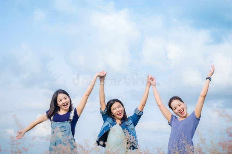 Les filles heureuses dans le domaine d'herbe avec le vintage filtrent photo stock