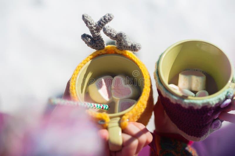 Les filles jumelles dans la forêt tiennent des tasses de cacao en forme de coeur et de guimauves Tasses dans haut étroit tricoté  images stock