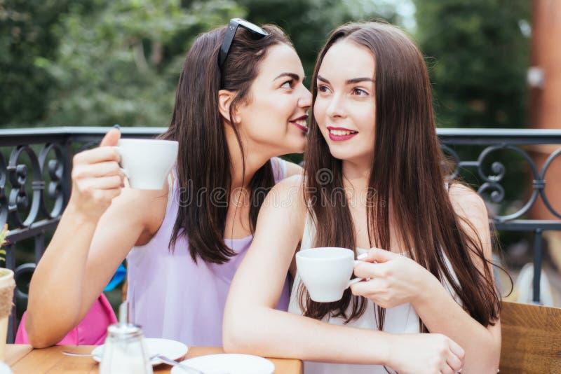 Les filles ont l'amusement avec un téléphone en café photos stock
