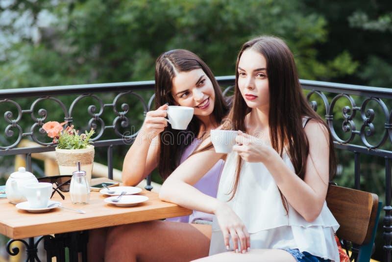 Les filles ont l'amusement avec un téléphone en café images libres de droits