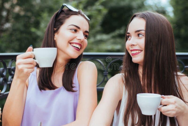Les filles ont l'amusement avec un téléphone en café photographie stock libre de droits