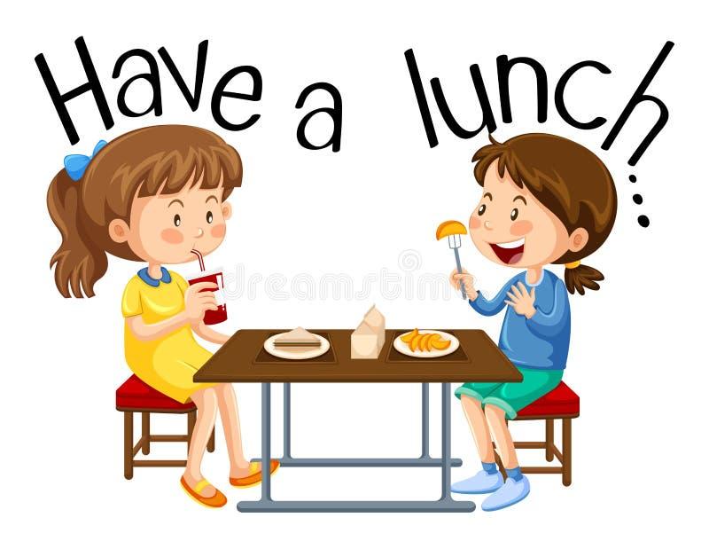 Les filles prennent le déjeuner illustration de vecteur