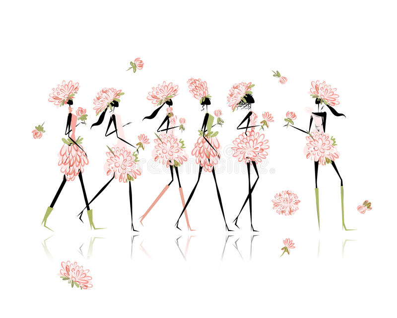 Les filles se sont habillées dans des costumes floraux, partie de poule pour illustration de vecteur