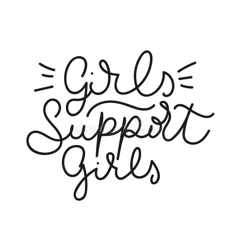 Les filles soutiennent la citation de inscription féministe de filles Lettrage féminin mignon d'isolement sur le fond blanc Illus illustration libre de droits